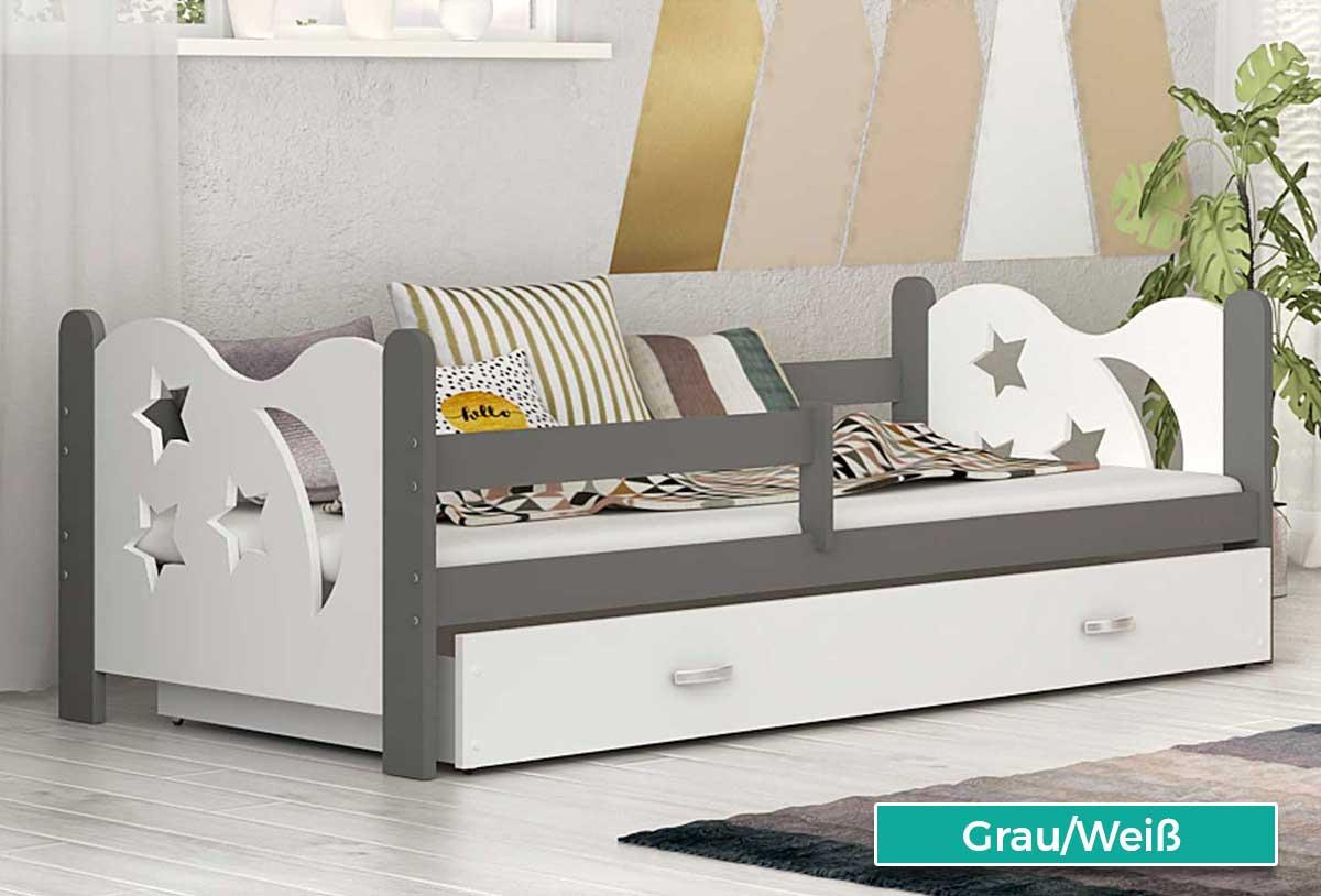 kinderbett micki 160x80 cm bett mit matratze bettkasten grau wei neu ebay. Black Bedroom Furniture Sets. Home Design Ideas